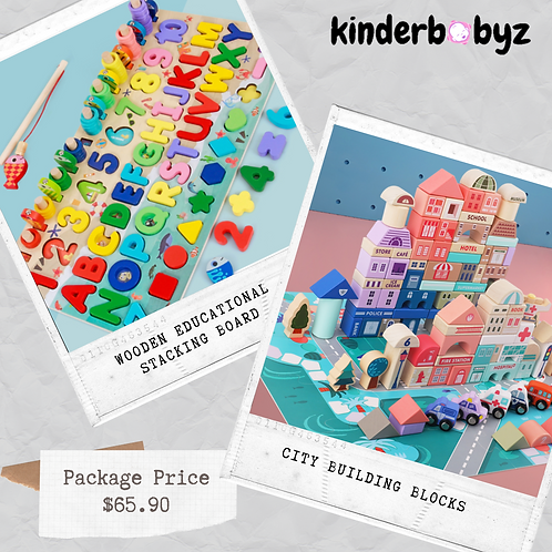 Bundle deals - City Building Blocks & Wooden educational Toy Baby Birthday Gift Educational Toy