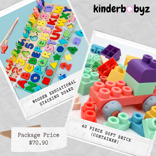 Soft Brick Lego and Wooden stacking educational board Baby Birthday Gift Educational Toy