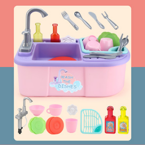 Dish washing set for kids pink, birthday gift, first baby birthday gift, help to do household chores, educational toys, baby