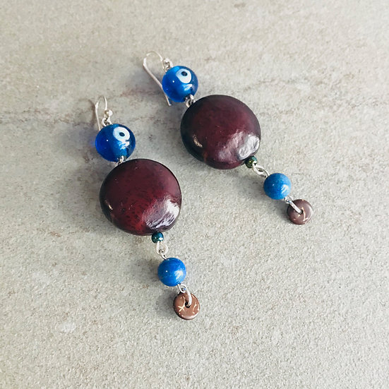 Evil-Eye, Biyogu Seed & Lapis Earrings