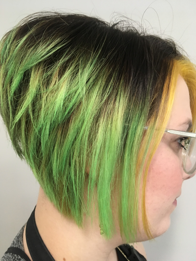 Shadow root with green & yellow