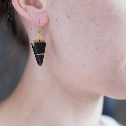 Monduni- Boucles d'oreilles Corne incrustation laiton