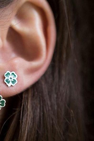 La tatoueuse-Boucles d'oreilles Puces trèfles verts or/ argent