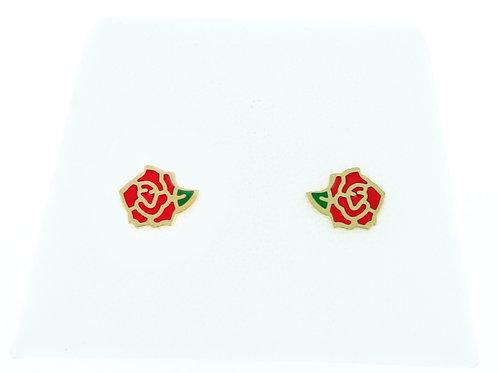 La tatoueuse-Boucles d'oreilles puces rose rouge