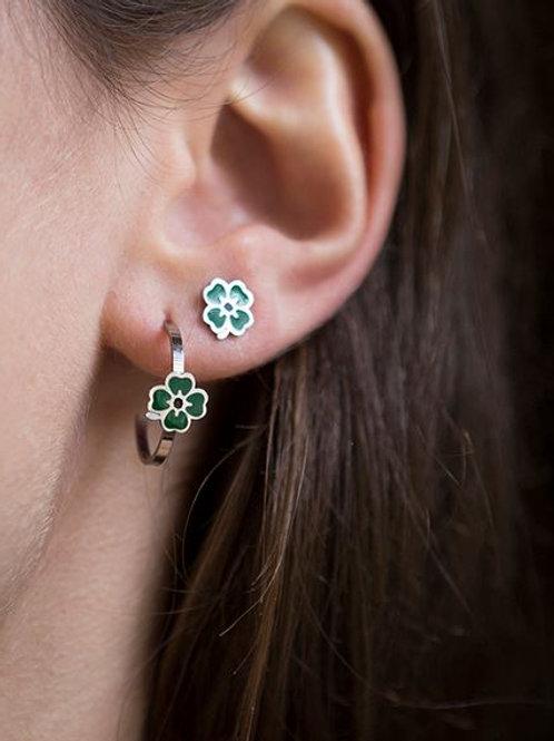 La tatoueuse- Petites créoles argent trèfle vert