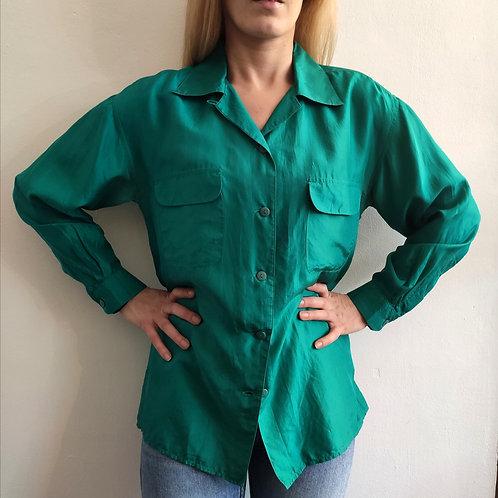Ma selection Vintage- Chemisier en Soie Vert emeraude