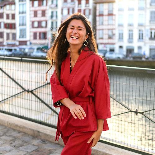 La Mouche Poulette • Veste Kimono Bayonne bordeaux
