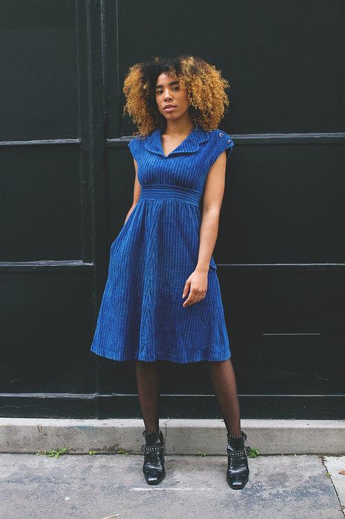 Ma selection Vintage- Robe bleue Velour côtelé