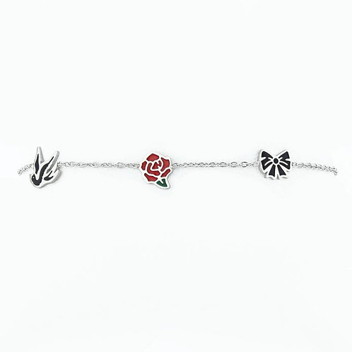La tatoueuse- Bracelet argent 3 symboles: hirondelle, rose, noeud