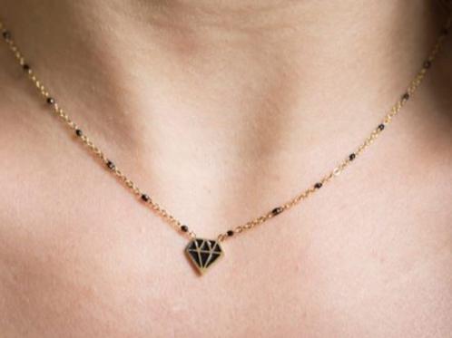 La tatoueuse- Collier  Rockeuse doré diamant noir