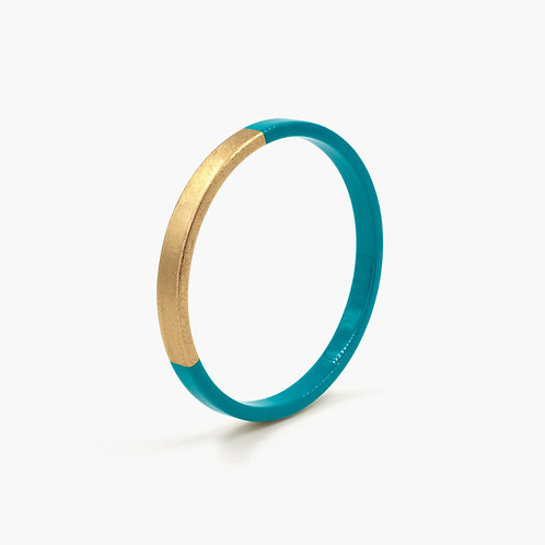 Pagil Blaja - Bracelet Trinity rond Bleu Paon/ Dreamgold