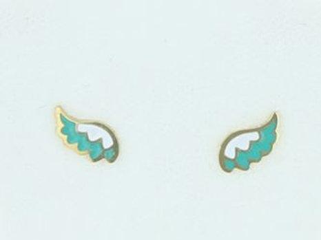 La tatoueuse-Boucles d'oreilles puces ailes turquoises