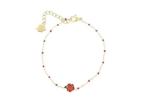 La tatoueuse- Bracelet doré rose rouge/ rose blanche