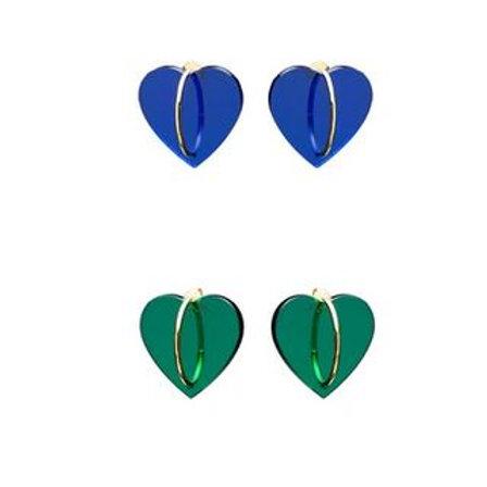 Helmut Paris- Boucles d'oreilles La Coeur Bleu/ Vertes