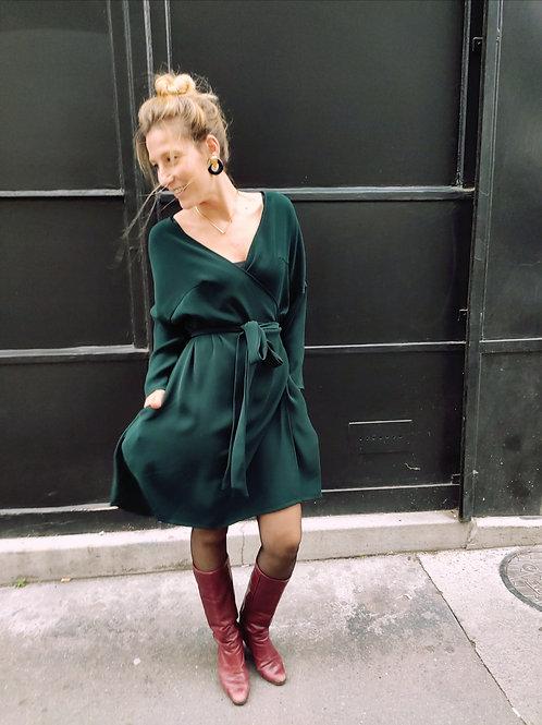 Maison linepo- Robe LIA Porte feuille  Vert Bouteille