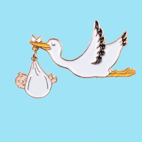 Coucou Suzette- Pin's Cigogne - Bébé Blanc