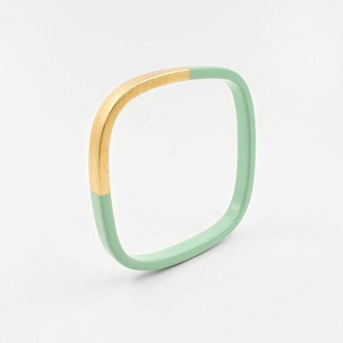 Pagil Blaja - Bracelet Trinity carré vert d'eau / Dreamgold