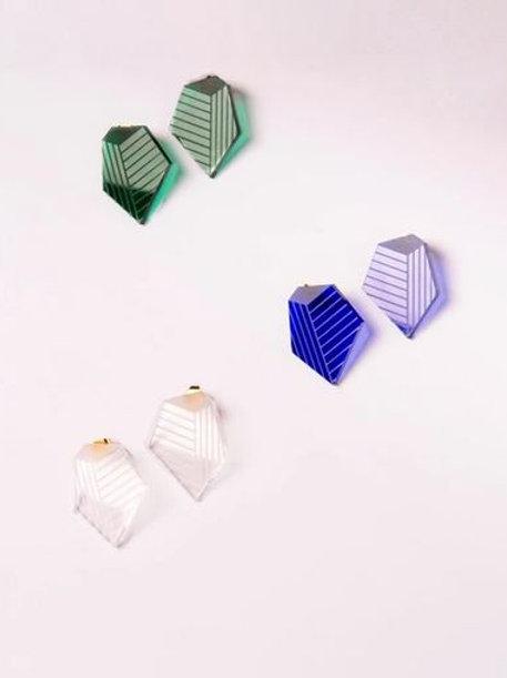 Helmut Paris- Boucles d'oreilles Cla's Bleu/ Verte/Transparente