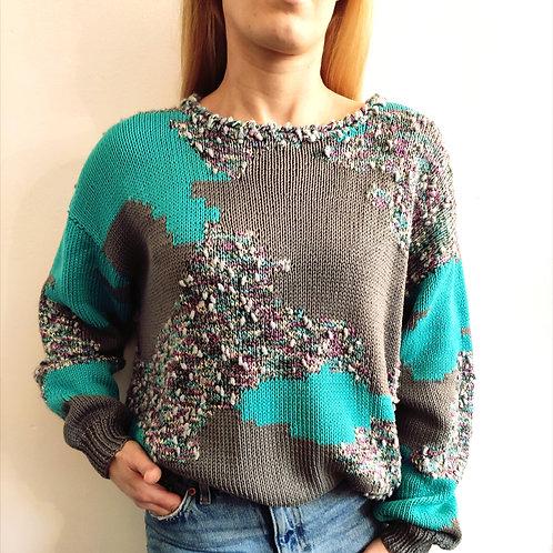 Ma selection Vintage- Pull tricoté main gris vert d'eau