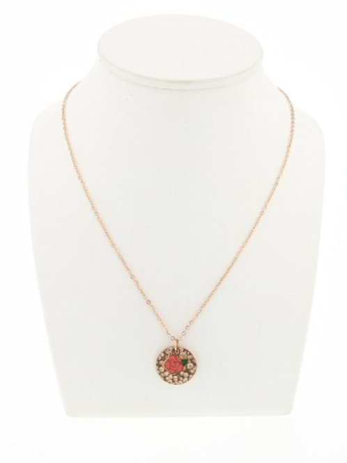La tatoueuse- Collier Medaille rose corail chaine rosé
