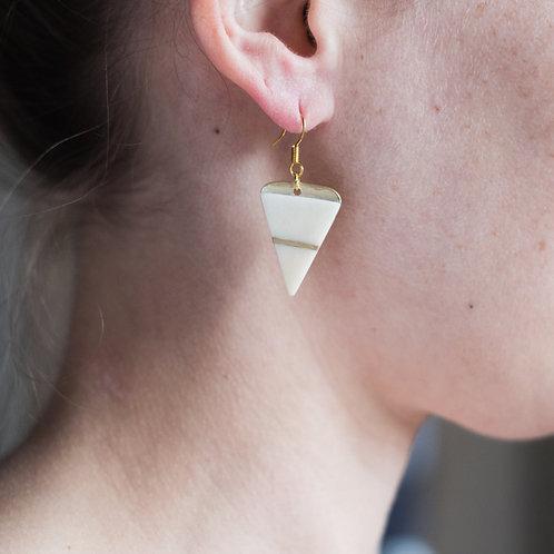 Monduni- Boucles d'oreilles os  incrustation laiton