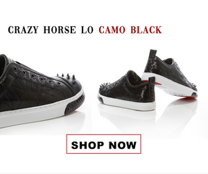 Crazy Horse Low sneakers from KRUZIN Footwear in Camo Black with studs, leather camouflage design, and white soles.