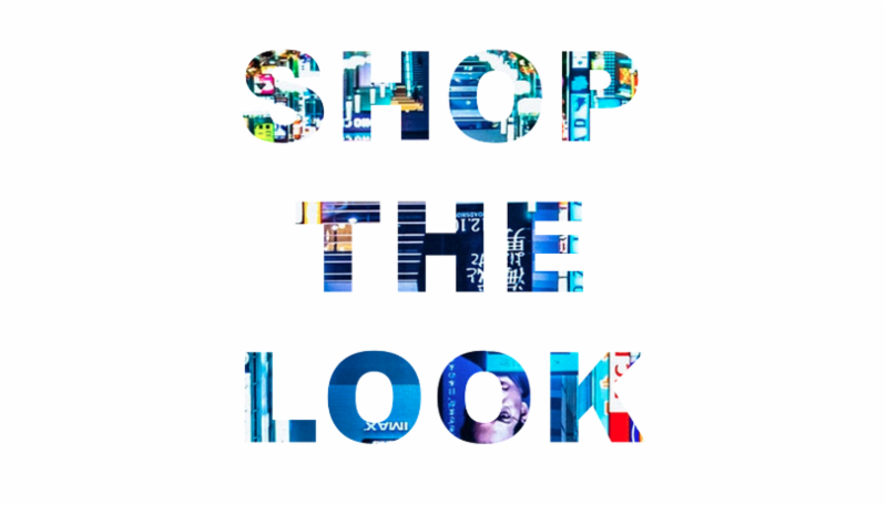 'Shop The Look' graphic with urban city design.