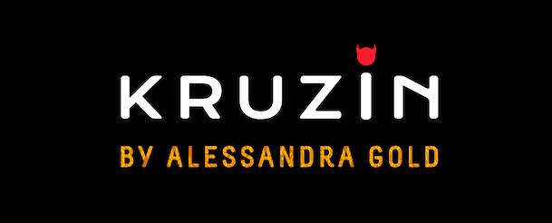 'KRUZIN by Alessandra Gold' logo on black background.