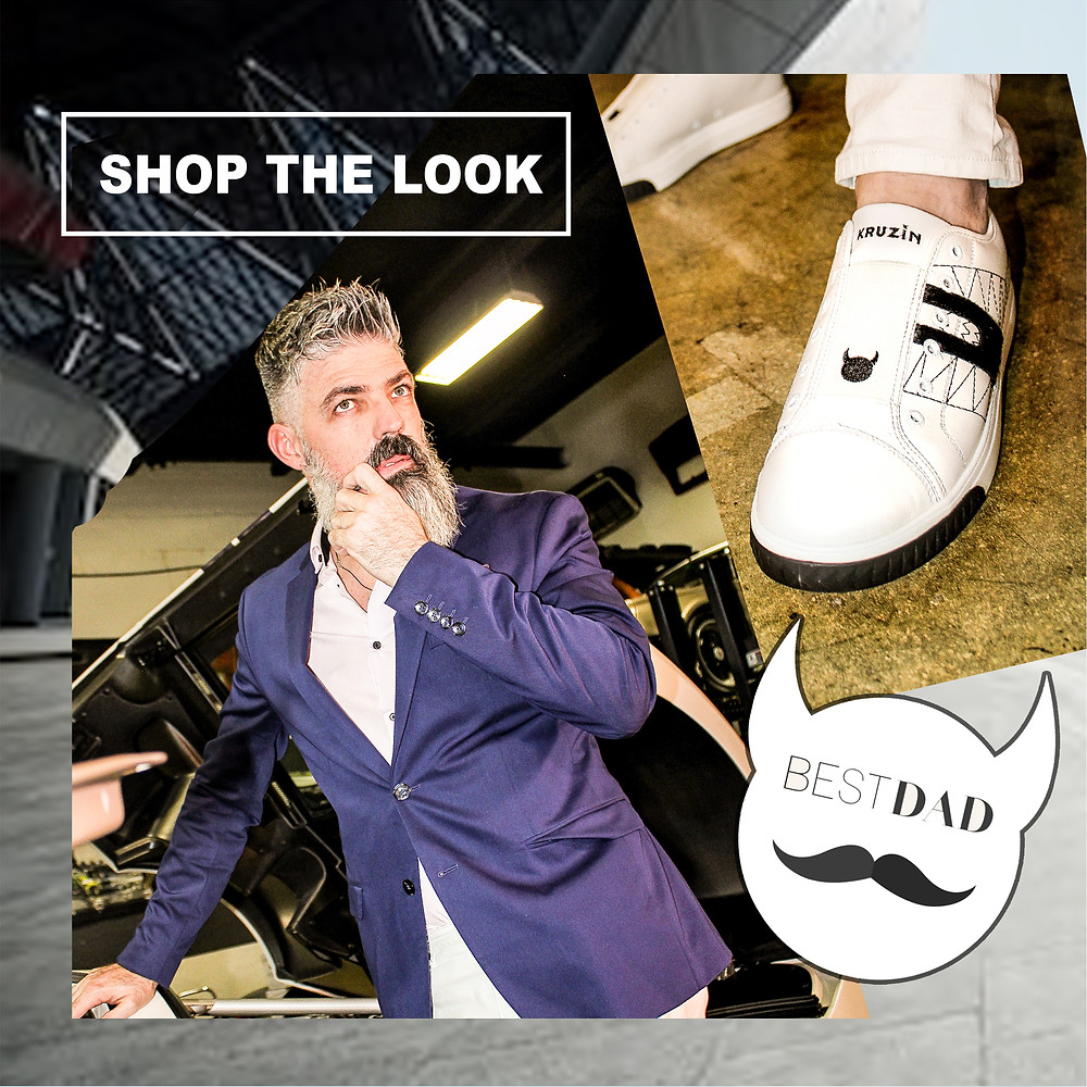 Dad wears chic, modern outfit with black and white, leather KRUZIN sneakers.
