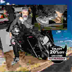 Dad sits on black motorcycle with luxury silver Boston runner sneakers from KRUZIN and a silver watch.