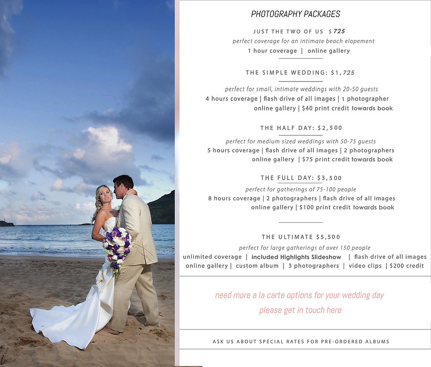 Venice FL wedding business - our collections