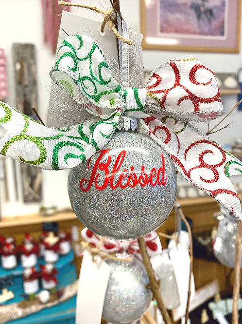 Sparkly Grey Blessed Ornament