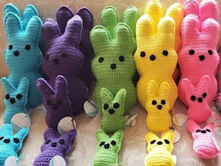 """Peep"" style crochet bunnies"