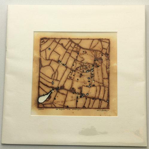 'Old Hospital Site, Grassington' small rust print