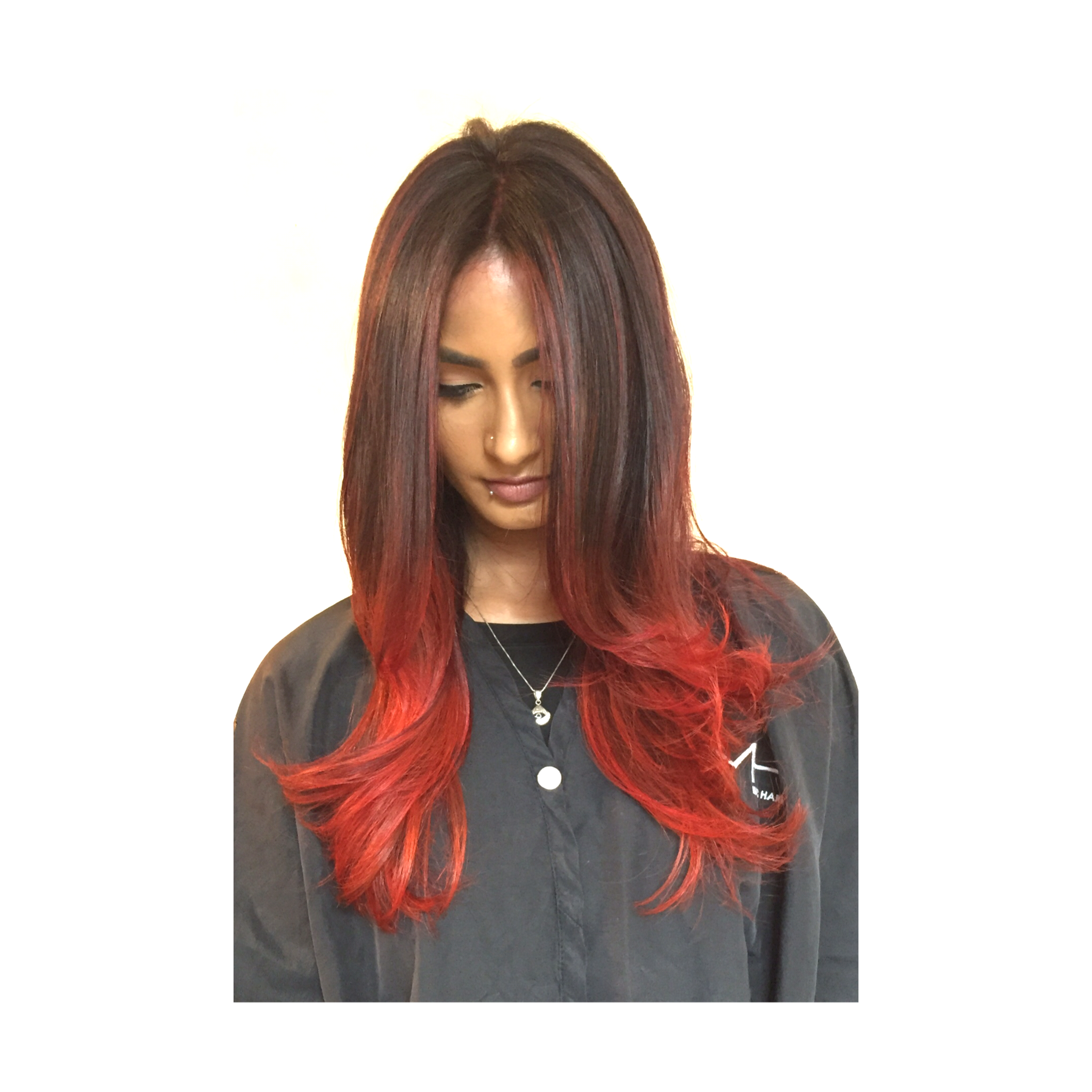 Red balayage for photoshoot