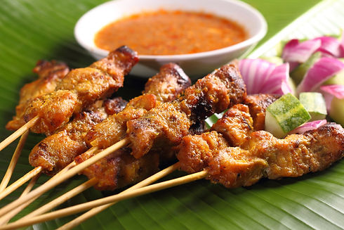 Malaysian chicken satay with delicious p