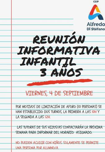 Reunión Informativa EDUCACIÓN INFANTIL 3 AÑOS. Curso 2020/21.