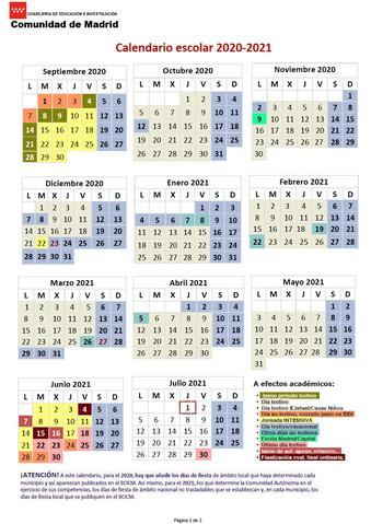 Calendario Escolar 2020/21.