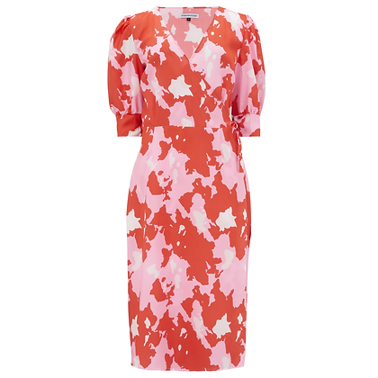 Pink and Red Midi Dress