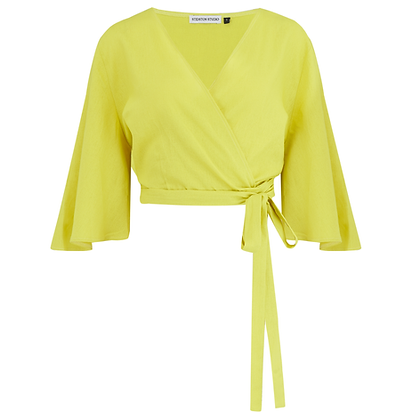 The Oriole Wrap Top in Lime