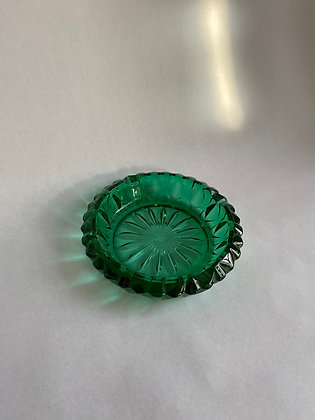 Vintage Teal Green Glass Ashtray