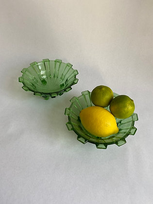 Pair of Vintage Mid Century Green Glass Bowls