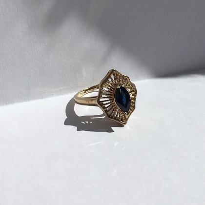 Vintage Navette Cut Sapphire Ring