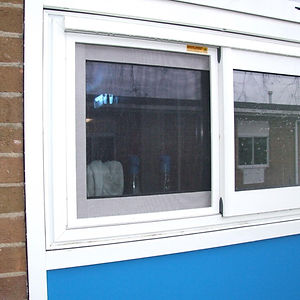 Aluminium horizontal sliding window integrated fly insect screen flyscreen school commercial food catering  kitchen mesh