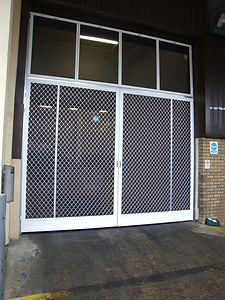 Large Factory Flyscreen Door grillage grille stainless steel mesh food factory Oxfordshire