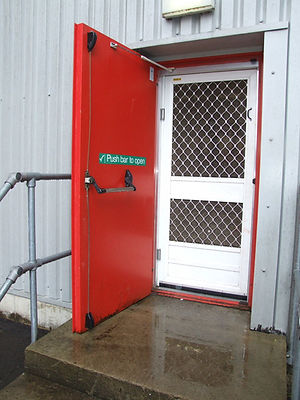heavy duty screen door fly insect flyscreen  fire escape panic bar hardware, damper grillage stainless steel mesh