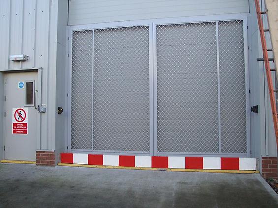 Commercial Industrial Screen Door Food Factory Filter air flow. Powder coated grey aluminium stainless steel mesh.