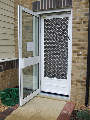 Heavy Duty Flyscreen Door Insect Fly  Screen double action hinges kickplate grille grillage stainless steel mesh commercial catering kitchen Buckinghamshire