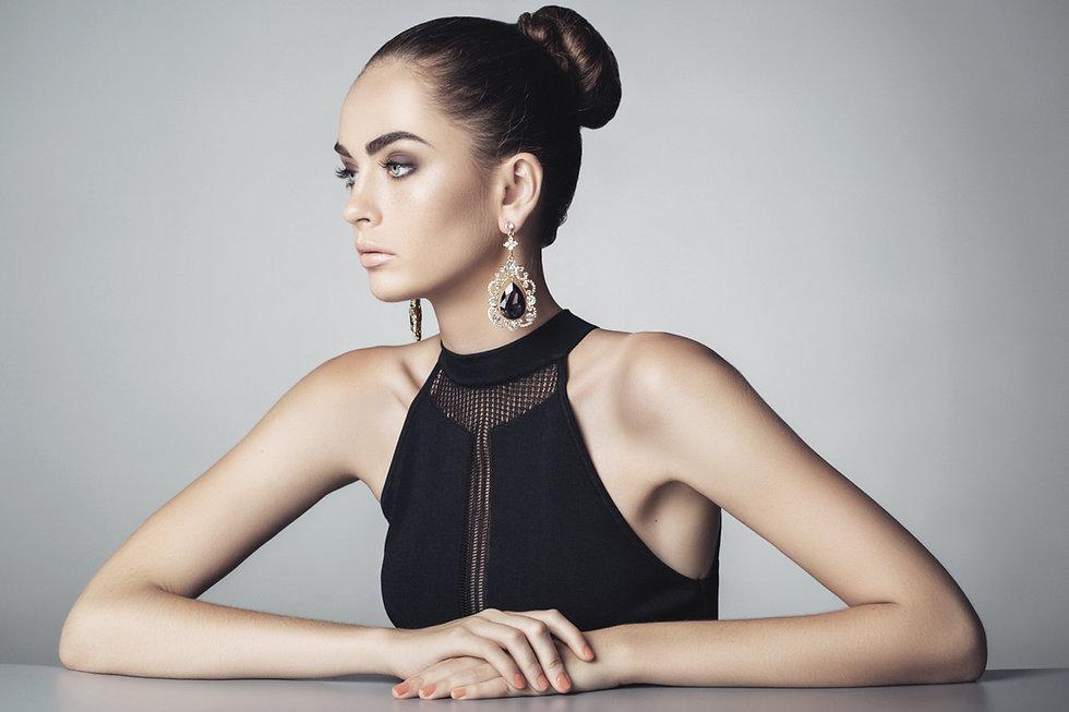 Model with Black Dress