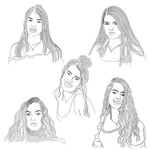 Sketches for an illustrated portrait commission